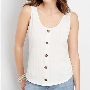 Maurices Cream Ribbed Button Front Tank Top